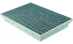 Paillasson encastrable MEARIN 600 x 400 + Tapis Rips gris clair